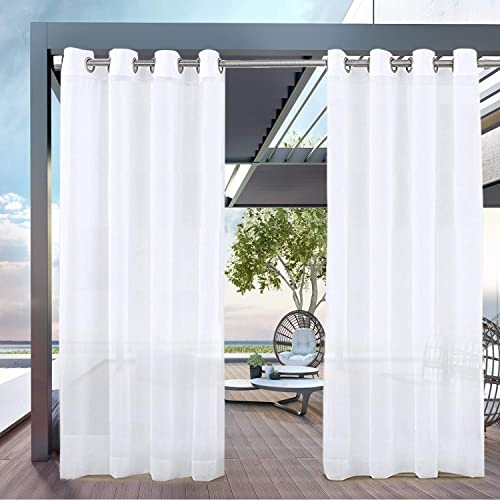 Pravive 84 Outdoor Sheer Curtains, Outdoor Waterproof Curtains Patio
