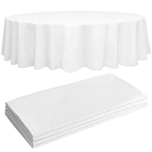 84 Plastic Table Cloth, Round Paper Table Covers White