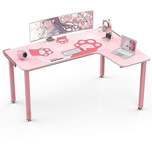 Eureka Ergonomic L Shaped Desk 60, Pink Corner Desk
